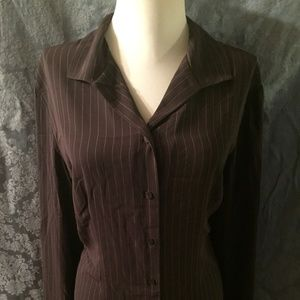 Brown with pinstripe button up blouse